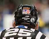 "Hockey East officials, including Chris Low, are wearing the ""EFB Jr."" emblem complete with official stripes and referee orange in honor of Edmund F. ""Ned"" Bunyon, Jr. who passed away on December 30, 2009.  . - The Boston University Terriers defeated the Merrimack College Warriors 6-4 (EN) on Saturday, January 16, 2010, at Agganis Arena in Boston, Massachusetts."