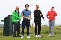 Gerard Dunne (Co. Louth), Michael Farr (ENG) and Matthew McClean (Malone) on the 1st tee during Round 1of the Flogas Irish Amateur Open Championship 2019 at the Co.Sligo Golf Club, Rosses Point, Sligo, Ireland. 16/05/19<br /> <br /> Picture: Thos Caffrey / Golffile<br /> <br /> All photos usage must carry mandatory copyright credit (© Golffile | Thos Caffrey)