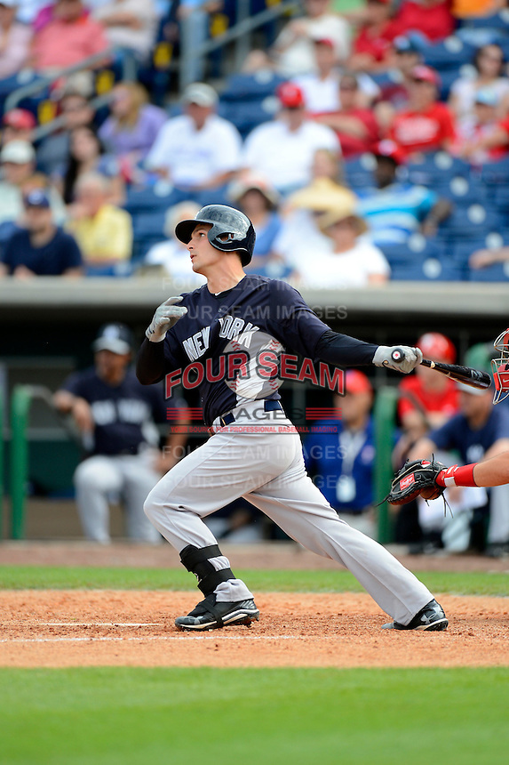 New York Yankees catcher J.R. Murphy #76 during a Spring Training game against the Philadelphia Phillies at Bright House Field on February 26, 2013 in Clearwater, Florida.  Philadelphia defeated New York 4-3.  (Mike Janes/Four Seam Images)