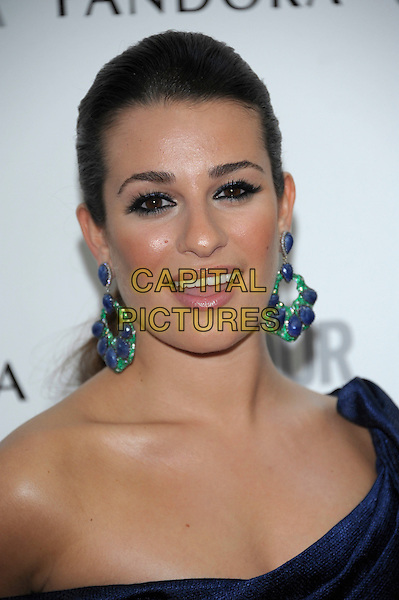 Lea Michele.Women Of The Year 2012 - Glamour Awards, Berkeley Square, London, England..29th May 2012.headshot portrait mouth open blue off the shoulder green earrings smiling .CAP/PL.©Phil Loftus/Capital Pictures.