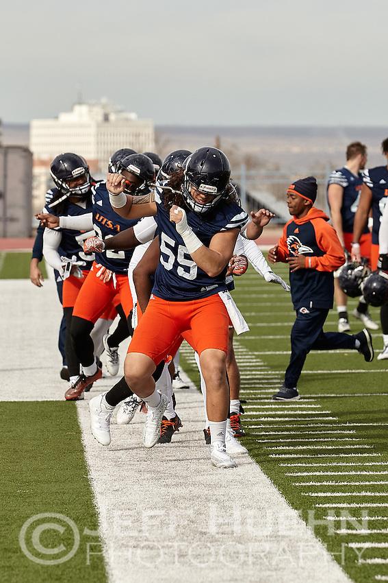 ALBUQUERQUE, NM -DECEMBER 15, 2016: The University of Texas at San Antonio Roadrunner Football Team practices at Milne Stadium in preparation for the Gildan New Mexico Bowl. (Photo by Jeff Huehn)