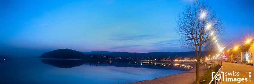 View of Lac-de-Joux from Le Pont at dusk