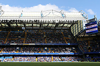 The scoreboard shows the final score of Chelsea 1 Tottenham 0 played in front of a crowd in excess of 25,000 during Chelsea Women vs Tottenham Hotspur Women, Barclays FA Women's Super League Football at Stamford Bridge on 8th September 2019