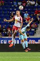 Harrison, NJ - Thursday Sept. 15, 2016: Aurelien Collin, Rodolfo Zelaya during a CONCACAF Champions League match between the New York Red Bulls and Alianza FC at Red Bull Arena.