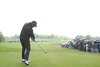 Bradley Dredge tees off in the rain on the 5th hole during the final round of the Irish Open on 20th of May 2007 at the Adare Manor Hotel & Golf Resort, Co. Limerick, Ireland. (Photo by Eoin Clarke/NEWSFILE).