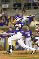LSU Tigers third baseman Conner Hale (20) follows through on his swing during a Southeastern Conference baseball game against the Texas A&M Aggies on April 24, 2015 at Alex Box Stadium in Baton Rouge, Louisiana. LSU defeated Texas A&M 9-6. (Andrew Woolley/Four Seam Images)