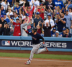 LOS ANGELES, CA - OCTOBER 28: Steve Pearce #25 of the Boston Red Sox celebrates his two-run homer against the Los Angeles Dodgers during the first inning of Game Five of Major League Baseball's World Series at Dodger Stadium in Los Angeles, California on October 28, 2018. (Staff photo by Christopher Evans)