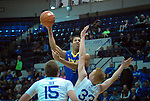 January 14, 2017:  San Jose State guard, Brandon Clarke #15, goes high above Falcon defenders during the NCAA basketball game between the San Jose State Spartans and the Air Force Academy Falcons, Clune Arena, U.S. Air Force Academy, Colorado Springs, Colorado.  San Jose State defeats Air Force 89-85.