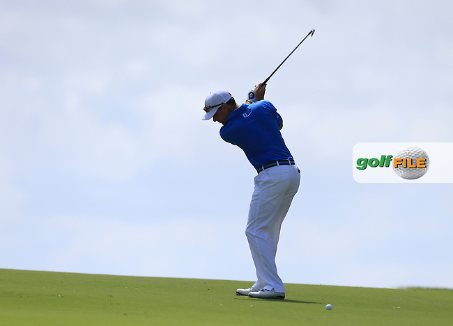 David McKendrick (AUS) on the 18th during Round 1 of the ISPS HANDA Perth International at the Lake Karrinyup Country Club on Thursday 23rd October 2014.<br /> Picture:  Thos Caffrey / www.golffile.ie