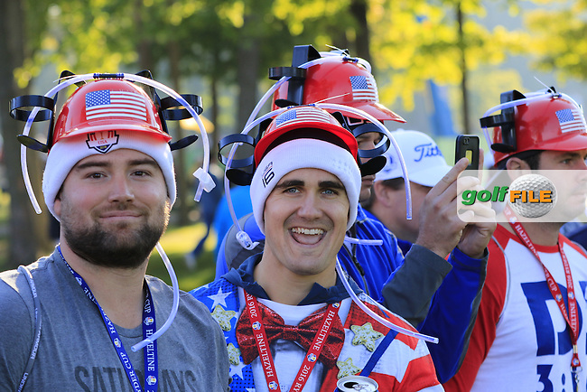 US fans during Saturday Morning Foursomes Matches of the 41st Ryder Cup, held at Hazeltine National Golf Club, Chaska, Minnesota, USA. 1st October 2016.<br /> Picture: Eoin Clarke | Golffile<br /> <br /> <br /> All photos usage must carry mandatory copyright credit (&copy; Golffile | Eoin Clarke)