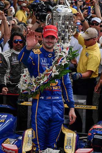 29 May, 2016, Indianapolis, Indiana, USA<br /> Alexander Rossi celebrates the win in victory lane with Borg-Warner wreath <br /> ©2016, Scott R LePage <br /> LAT Photo USA