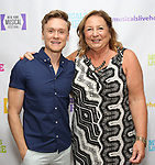 "Josh Canfield and Barbara Chubb backstage at the New York Musical Festival production of  ""Alive! The Zombie Musical"" at the Alice Griffin Jewel Box Theatre on July 29, 2019 in New York City."
