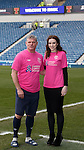 Amy MacDonald with Ian Durrant at Ibrox to watch her heroes and promote the Rangers Charity Foundation's pink top