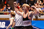 CLEVELAND, OH - MARCH 10: Cross Cannone, of Wartburg, celebrates his win in the 149 weight class during the Division III Men's Wrestling Championship held at the Cleveland Public Auditorium on March 10, 2018 in Cleveland, Ohio. (Photo by Jay LaPrete/NCAA Photos via Getty Images)