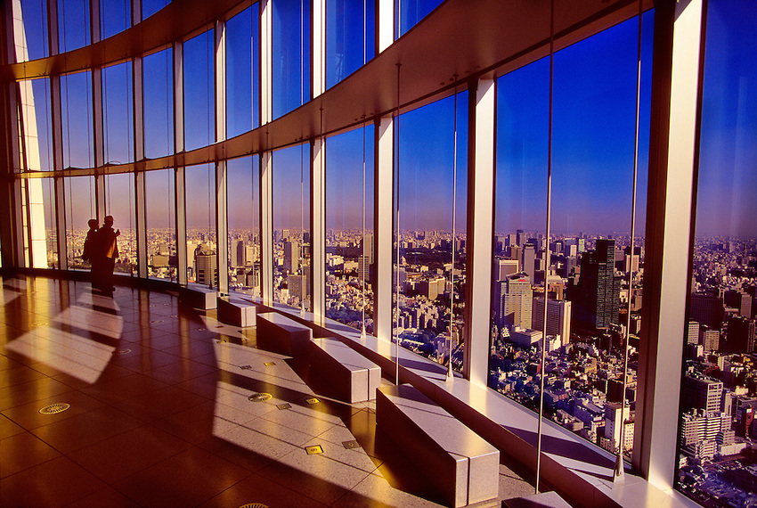 Tokyo city view from the 52nd floor observation deck, Mori Tower, Roppongi Hills, Tokyo, Japan