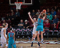 STANFORD, CA - December 4, 2016: Alanna Smith at Maples Pavilion. Stanford defeated UC Davis, 68-42. The Cardinal wore turquoise uniforms to honor Native American Heritage Month