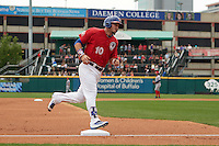 Buffalo Bisons center fielder Darrell Ceciliani (10) runs the bases after hitting a home run during a game against the Syracuse Chiefs on July 31, 2016 at Coca-Cola Field in Buffalo, New York.  Buffalo defeated Syracuse 6-5.  (Mike Janes/Four Seam Images)
