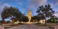 This panorama photograph of the Texas State Capitol was captured about 30 minutes before sunrise on a late Autumn morning. It was a stitch of several images to show the entire front of the building that houses the state government. I'm not always sure what those folks are doing, but they have a nice building to do it in!