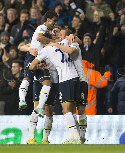 01.01.2015.  London, England. Barclays Premier League. Tottenham versus Chelsea. Tottenham players celebrate their goal scored by Harry Kane.