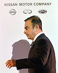 May 10, 2013, Yokohama, Japan - President Carlos Ghosn of Nissan Motor Co. arrives to present its annual net profit during a news conference at the head office in Yokohama, south of Tokyo, on Friday, May 10, 2013. Nissan reported the slowest annual profit growth among Japanese automakers as a Sino-Japanese political dispute backfired, hitting Japan's No. 2 automaker hard when Chinese consumer began to boycott Japanese products in September last year.  (Photo by Natsuki Sakai/AFLO)