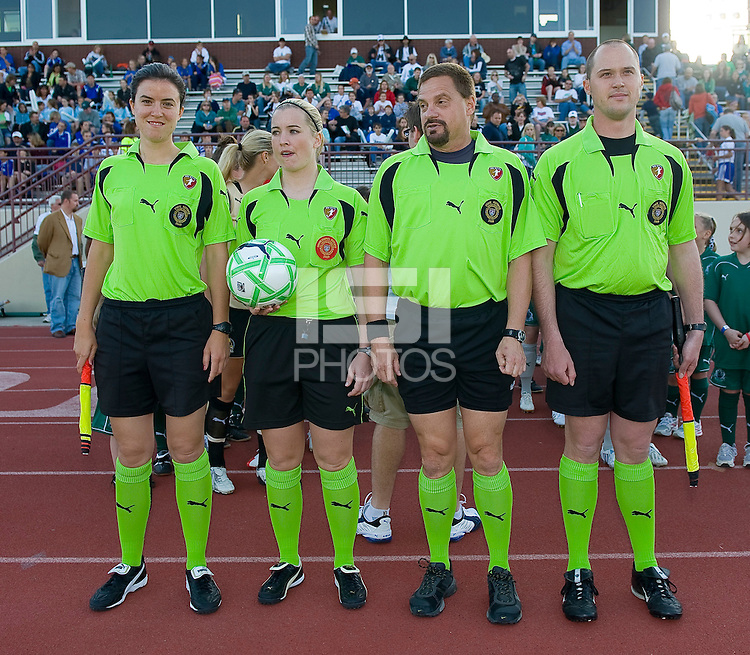 The officials line up before the game between the St. Louis Athletica and FC Gold Pride during a WPS match at Korte Stadium, in St. Louis, MO, May 9 2009. St. Louis won the match 1-0.