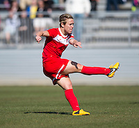 Lori Lindsey (6) of the Washington Spirit takes a shot  during the game at the Maryland SportsPlex in Boyds, MD.  The Washington Spirit defeated the North Carolina Tar Heels in a preseason exhibition, 2-0.