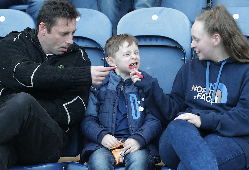 Preston North End fans before the kick off<br /> <br /> Photographer Stephen White/CameraSport<br /> <br /> Football - The Football League Sky Bet Championship - Preston North End v Burnley - Friday 22nd April 2016 - Deepdale - Preston <br /> <br /> &copy; CameraSport - 43 Linden Ave. Countesthorpe. Leicester. England. LE8 5PG - Tel: +44 (0) 116 277 4147 - admin@camerasport.com - www.camerasport.com
