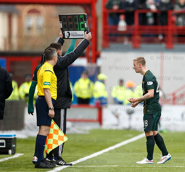 Confusion with the subs board as Leigh Griffiths thinks he is going off but it will be Kris Commons instead