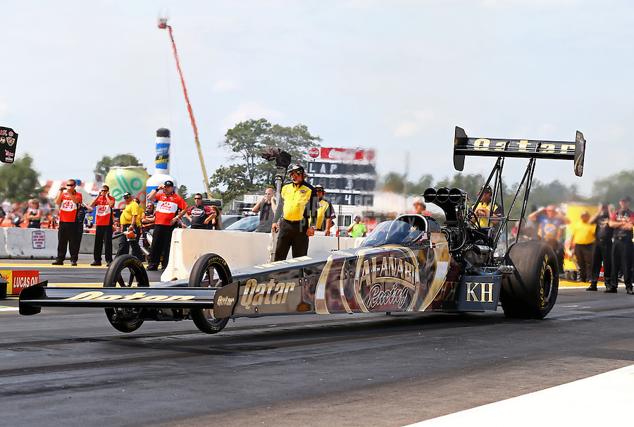 Aug. 18, 2013; Brainerd, MN, USA: NHRA top fuel dragster driver Khalid Albalooshi during the Lucas Oil Nationals at Brainerd International Raceway. Mandatory Credit: Mark J. Rebilas-