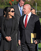 Deputy National Security Adviser for Strategy Dina Powell, left and National Security Advisor H.R. McMaster, right, await the arrival of United States President Donald J. Trump and first lady Melania Trump who will lead a moment of silence in remembrance of those lost on September 11, 2001 on the South Lawn of the White House in Washington, DC on Monday, September 11, 2017.<br /> Credit: Ron Sachs / CNP