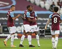 West Ham United's Sebastien Haller celebrates scoring his side's second goal with Ben Johnson, Andriy Yarmolenko and Felipe Anderson<br /> <br /> Photographer Rob Newell/CameraSport<br /> <br /> Carabao Cup Second Round Northern Section - West Ham United v Charlton Athletic - Tuesday 15th September 2020 - London Stadium - London <br />  <br /> World Copyright © 2020 CameraSport. All rights reserved. 43 Linden Ave. Countesthorpe. Leicester. England. LE8 5PG - Tel: +44 (0) 116 277 4147 - admin@camerasport.com - www.camerasport.com
