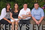 Christening: Baby Ella Marie Lyons was Christened at St. Michaels Church, Lixnaw on Saturday. Pictured with her parents and godparents at a celebratory Barbque at the Anglers rest Bar, Finigue.  Louise McKenna, Tracy and Maurice Lyons and Brian McCarthy.