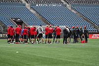 SEATTLE, WA - NOVEMBER 9: Head Coach Greg Vanney of Toronto FC talks to his team at CenturyLink Field on November 9, 2019 in Seattle, Washington.