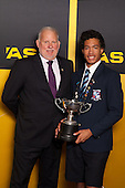 Fred Revell from ASB with Sportman of the Year Joshua Hawkins. ASB College Sport Young Sportsperson of the Year Awards held at Eden Park, Auckland, on November 24th 2011.