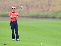 Joost Luiten (NED) prepares to play his 2nd shot on the 11th hole during Friday's Round 2 of the 2014 BMW Masters held at Lake Malaren, Shanghai, China 31st October 2014.<br /> Picture: Eoin Clarke www.golffile.ie