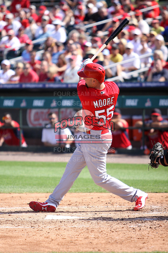 Scott Moore (55) of the St. Louis Cardinals at bat during a spring training game against the Miami Marlins at the Roger Dean Complex in Jupiter, Florida on March 5, 2015. St. Louis defeated Miami 4-1. (Stacy Jo Grant/Four Seam Images)