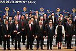 May 6, 2017, Yokohama, Japan -  Board members of Governors of the Asian Development Bank (ADB) pose for photo at the ADB annual meeting in Yokohama, suburban Tokyo on Saturday, May 6, 2017, at (2nd L) is Japanese Finance Minister Taro Aso, (3rd L) is ADB president Takehiko Nakao and (R) is Chinese Finance Minister Xiao Jie. ADB has a four-day session for its annual meeting to celebrate the 50th anniversary of the ADB.   (Photo by Yoshio Tsunoda/AFLO) LwX -ytd-