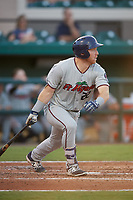 Fort Myers Miracle designated hitter Taylor Grzelakowski (22) follows through on a swing during a game against the Lakeland Flying Tigers on August 7, 2018 at Publix Field at Joker Marchant Stadium in Lakeland, Florida.  Fort Myers defeated Lakeland 5-0.  (Mike Janes/Four Seam Images)