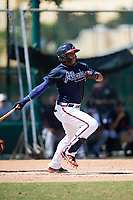 Atlanta Braves shortstop Kevin Maitan (50) at bat during an Instructional League game against the Detroit Tigers on October 10, 2017 at the ESPN Wide World of Sports Complex in Orlando, Florida.  (Mike Janes/Four Seam Images)