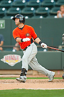 Christian Walker (19) of the Frederick Keys follows through on his swing against the Winston-Salem Dash at BB&T Ballpark on May 28, 2013 in Winston-Salem, North Carolina.  The Dash defeated the Keys 17-5 in the first game of a double-header.  (Brian Westerholt/Four Seam Images)