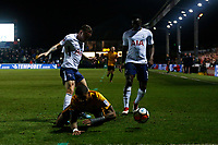 Joss Labadie of Newport County is tackled by Kieran Trippier of Tottenham Hotspur during the Fly Emirates FA Cup Fourth Round match between Newport County and Tottenham Hotspur at Rodney Parade, Newport, Wales, UK. Saturday 27 January 2018