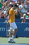 "Novak Djokovic (SRB) ""celebrates"" his victory over Alexandr Dolgopolov (UKR) 4-6, 7-6, 6-2 at the Western and Southern Open in Mason, OH on August 22, 2015."