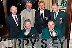 Kerry Golf AGM at Killarney Golf Club. Passing batons or golf clubs in this case!.At the front incoming Kerry captain Tom OSullivan takes over from outgoing Kerry captain Murt Scanlon. At the back are outgoing secretary Peter Kelly, incoming secretary Eamon English, John Clifford captain Killarney Golf Club and John B OShea, Director of Golf..