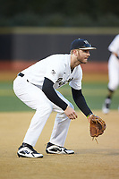 Wake Forest Demon Deacons third baseman Johnny Aiello (2) on defense against the Florida State Seminoles at David F. Couch Ballpark on March 9, 2018 in  Winston-Salem, North Carolina.  The Seminoles defeated the Demon Deacons 7-3.  (Brian Westerholt/Four Seam Images)
