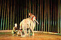 Regent's Park Open Air Theatre presents RUNNING WILD, by Michael Morpurgo, in an adaptation by Samuel Adamson. the production is directed by Timothy Sheader and Dale Rooks, design is by Paul Wills and lighting design by Paul Anderson. Picture shows: Oona the Elephant (as herself), Ava Potter (as Lilly)