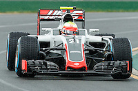 March 18, 2016: Esteban Gutierrez (MEX) #21 from the Haas F1 Team rounds turn 2 during practise session one at the 2016 Australian Formula One Grand Prix at Albert Park, Melbourne, Australia. Photo Sydney Low