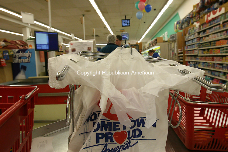 WINSTED, CT - 27 January, 2009 - 012709MO07 - State lawmakers are again taking aim at the lowly plastic shopping bag, like these at the Winsted Super Saver. Jim Moore Republican-American.