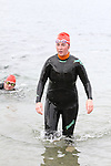First Lady to finish, Sue McKinney at the Green Buoy 1KM Swim in Clogherhead...(Photo credit should read Jenny Matthews/NEWSFILE)...