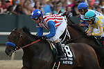 April 12, 2014: #8 Bayern with jockey Gary Stevens aboard and #5 Thundergram with jockey Norberto Arroyo, Jr. aboard at the start of the Arkansas Derby at Oaklawn Park in Hot Springs, AR. Justin Manning/ESW/CSM