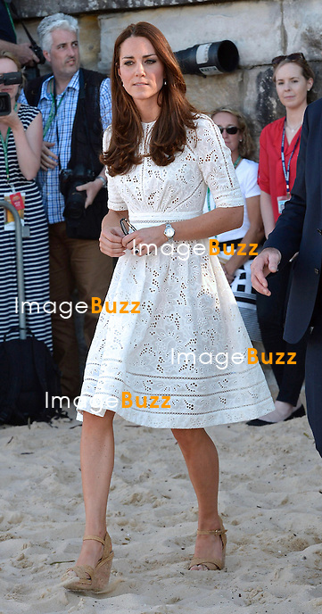 KATE, DUCHESS OF CAMBRIDGE AND PRINCE WILLIAM VISIT MANLY BEACH<br /> The Royal couple visited Sydney's famous beach to watch a number of activities and meet with the local life surfers. They were accompanied by Prime Minister Tony Abbott. Despite being on a beach the Royal Couple decided to keep their shoes on. Kate's decision to walk on the beach in her wedges drew criticism.<br /> They were also presented with a surf board for Prince George.<br /> Manly Beach, Sydney, Australia, 18.04.14